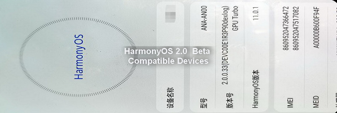 Models that will receive the HarmonyOS 2.0 beta version